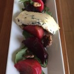 Beets with walnuts and blue cheese.