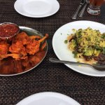 Chicken lollipops and avocado paapdi chaat