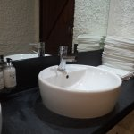 Nice clean bathroom with Scottish Fine Soaps and individual towels.