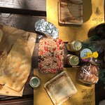 Picnic: fresh bread, farro salad, wine, and butter biscuits from a baker, amazing honey by Franc