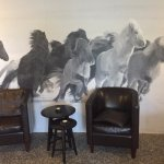 A beautiful wall mural in the lobby