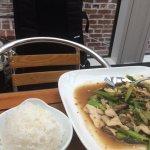 Chicken mushroom asparagus with jasmine rice