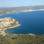 Hotel Punta Negra as you approach Alghero Airport (see pool close to the aircraft shadow)