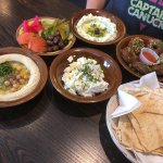 Saturday brunch for 2 includes 6 falafel balls, labneh, feta and goat cheese, hummus, olives, to