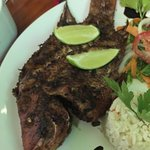Great Mexican food!  Fried snapper, ceviche, garlic torta and seafood soup.  On restaurant row.