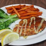 Blackened Tilapia garnished with a Southwestern citrus sauce