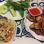 pepper and garlic shrimp, and papaya salad