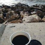 Coffee on seashore