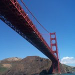 Cruising beneath the Golden Gate Bridge on a Red and White bay cruise.