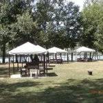 Outdoor picnic gazebos and playground for children and families
