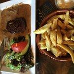 Etentje bij De Beierd: pittige knoflookgarnalen, forel met sinaasappelsausje, biefstukje met pep
