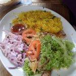 Fresh tuna steak (buried under the leaves!) / salad/rice