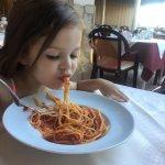 Enjoying the Spaghetti Bolognese.....yum yum!