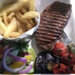 Sirloin steak (without onion rings for Gluten Free option)