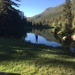 Beautiful morning fly fishing near Lakeside cabin.