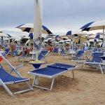 Umbrella and sunbeds on the beach