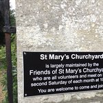 Plaque on wall of St Mary's