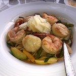 Shriimp & scallops over pasta