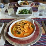 Oyster beef, veg and yellow thai curry