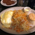 Swiss Cheese & Mushroom Egg White Omelet w/ Biscuit