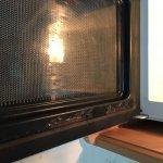 Inside of microwave door.
