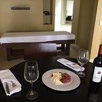 Wine, cheese, meat, massage