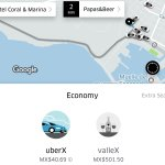 Transport via uber (prices are in Pesos) to / from town