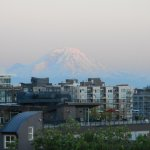 View from roof with Mount Rainier just visible.
