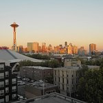 Sunset in Seattle, view from roof.