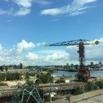View of crane/hotel across the way.
