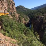Narrow Gauge Railroad along the Animas River on its way to Tall Timbers Resort for a day of Soar