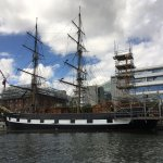 Tall ships including the Jeanie Johnson on Liffey River boat tour