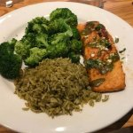 Ancho Salmon w/broccoli and rice