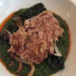 Rice crusted fish, mushroom curry, chili oil, brassicas/kale
