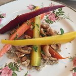 Orange oil carrots, kazu, tahini, preserved lemon