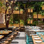 The patio lanai at Herringbone Waikiki