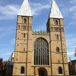 Entrance to Southwell Minster. A beautiful example of a Norman cathedral