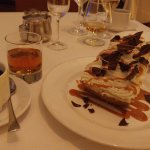 Banana Cream Pie for dessert. Notice the double bourbon next to the plate: a nice pour!