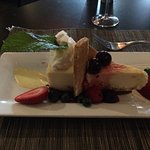 A flourless chocolate cake and a vanilla & wild Fabbri cherry cheesecake