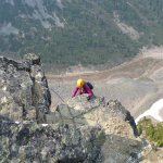 My friend Kathy on one of the tougher cliffs.