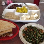 Appetizer platter and tabouli.