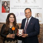Chef Patron Sabbir Karim receives a recognition plaque from Mayor Of Camden.