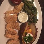 Fried shrimps, loaded potato, brocollini. Fried pickles (big slices are filling)