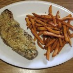 New York Strip crusted with garlic and parmesan & Sweet Potato fries