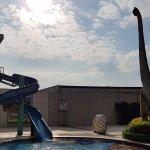 water slide and dinosaur. nice