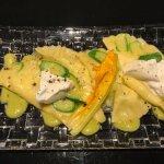 Mezzelune aux Courgettes et ses fleurs de notre potager privé avec Burrata