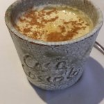 Postre, natillas caramelizadas con mantecado de Astorga.