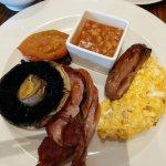 cooked breakfast with scrambled egg