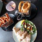 prawn marie rose sandwiches, battered onion rings, sweet potato fries