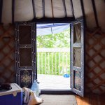 Inside the blue yurt